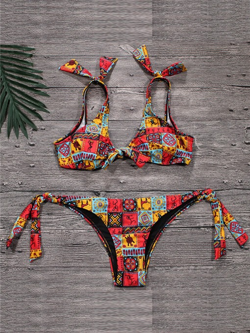 Bowknot Lace-Up Tie Front 2-Pcs Bikini Bathing Suits