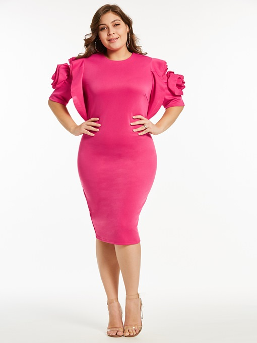 Plus Size Falbala Round Neck Elegant Bodycon Dress