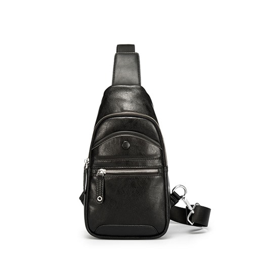 PU Soft Zipper Interior Zipper Pocket Men's Sling Bag