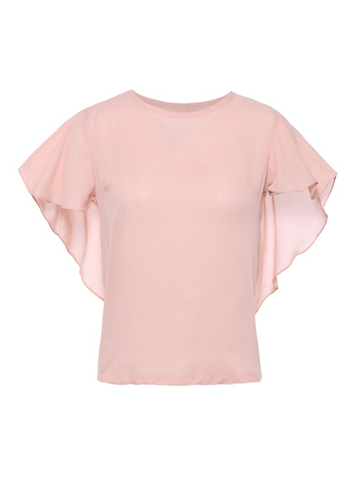 Ruffle Sleeve Solid Color Cape Women's Blouse
