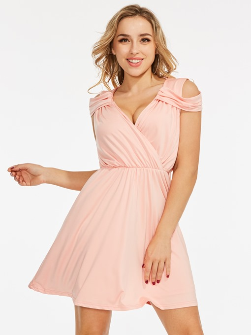 Pink V-Neck Petal Sleeve Above-Knee A-Line Dress