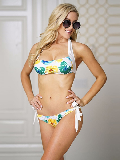 Halter Lace Up Tie Waist Floral Bikini Set
