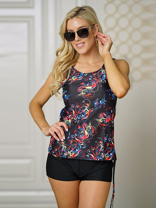 Black Floral Boyshort Tankini Set