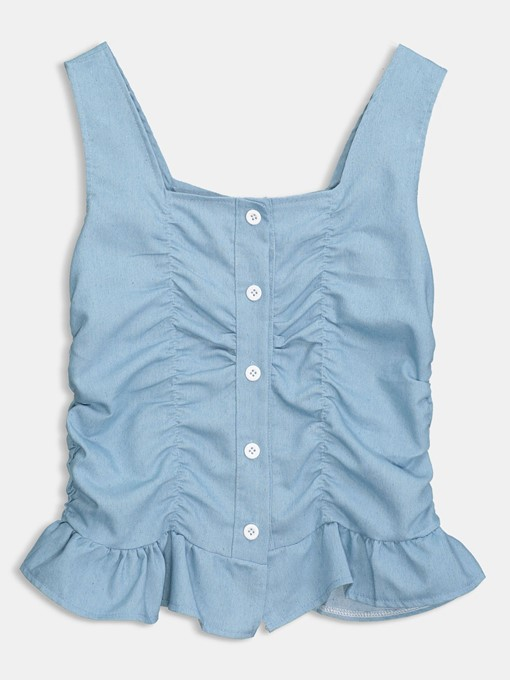 Pleated Suspenders Button Up Women's Tank Top