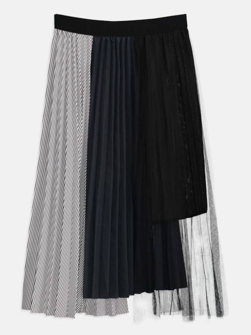 Pleated Color Block Patchwork Women's Skirt
