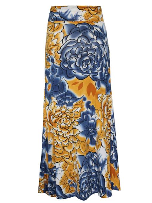 Floral Print Long High Waist Women's Skirt