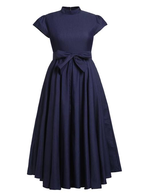 Plusee Dark Blue High-Waist Stand Collar Day Dress
