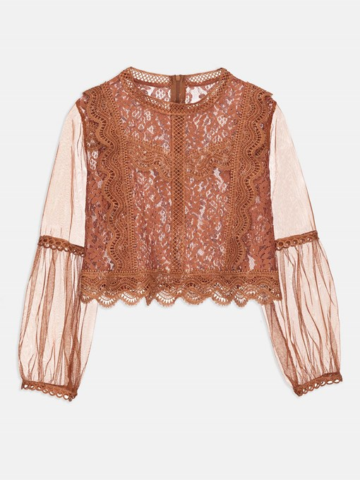 Mesh And Lace Patchwork Zip Up Women's T-Shirt