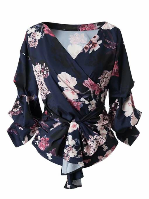 Tie Front Wrapped Top Floral Print Women's Blouse