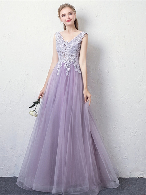 A-Line Beading Appliques V-Neck Prom Dress