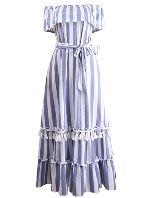 Off-The-Should Falbala Stripe Maxi Dress