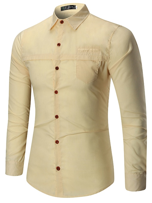 Lapel Plain Leisure&Business Slim Men's Shirt
