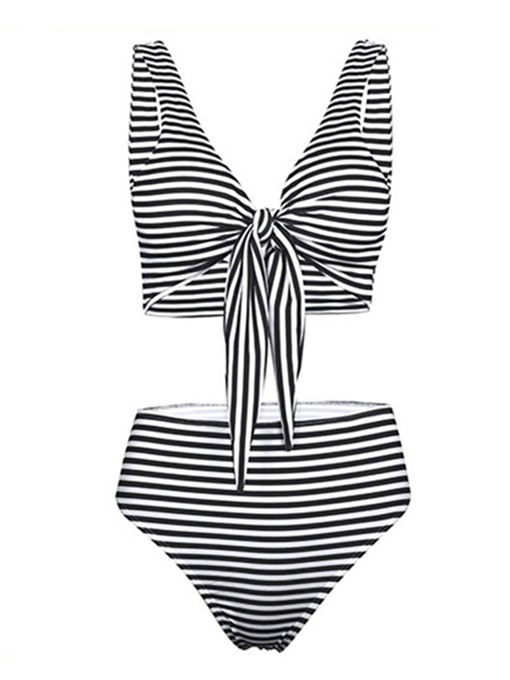 Stripe Bowknot Tie Front High Waist 2-Pcs Bikini Suits