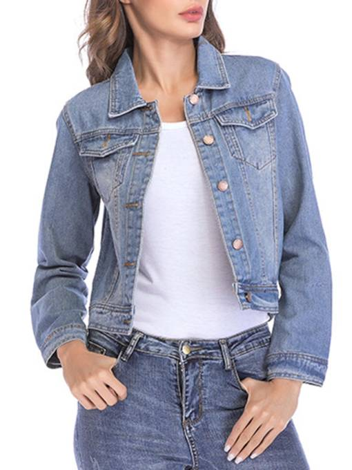 Slim Button Up Denim Pocket Women's Jacket