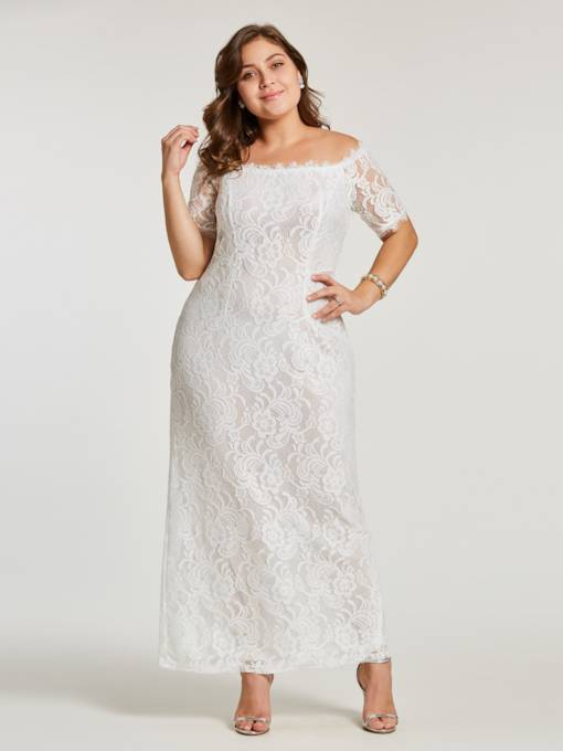 Plus Size Elegant Lace Bodycon Plain Dress