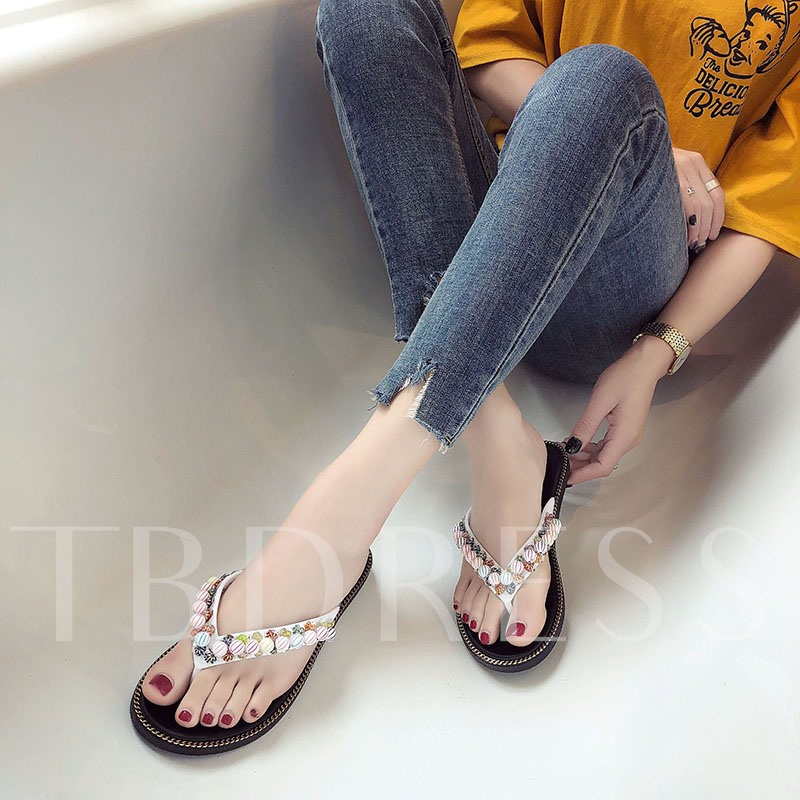 Colorful Rhinestone Casual Flat Thong for Women