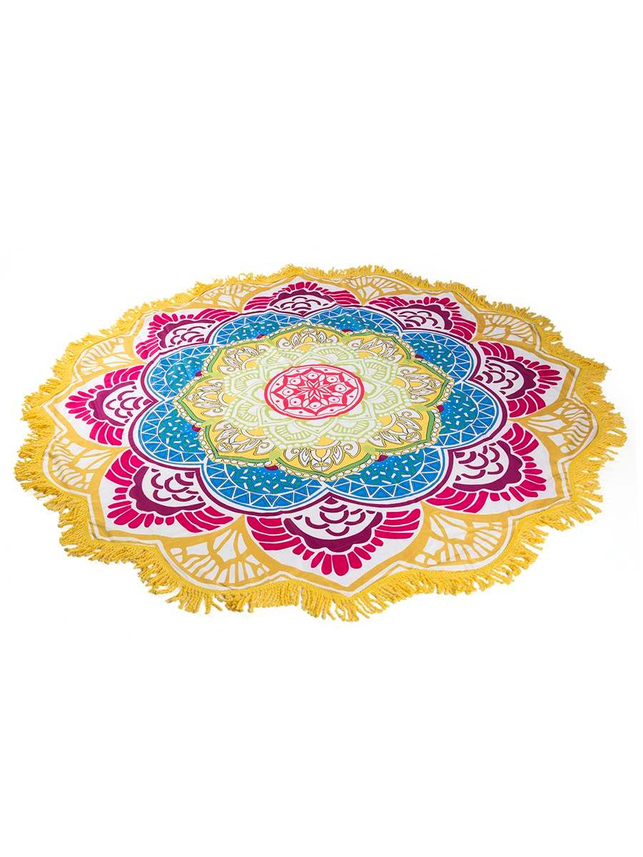 Floral Yellow Tassels Beach Blanket