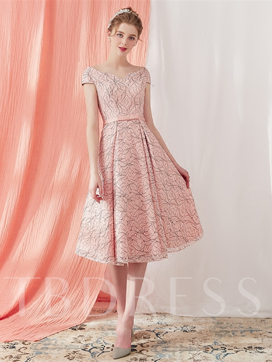 Buy A-Line V-Neck Bowknot Lace Sashes Prom Dress, Spring,Summer,Fall,Winter, 13294952 for $137.88 in TBDress store