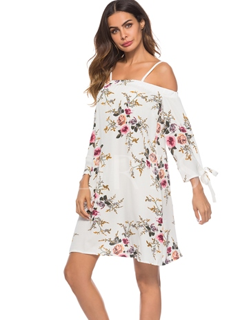 Off-The-Shoulder Floral Print Day Dress