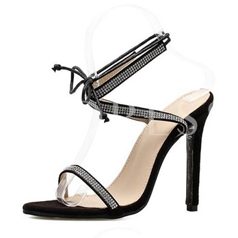 Rhinestone Lace Up Black Sandals for Women