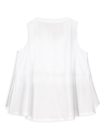 Pleated Color Block Sleeveless Women's Blouse
