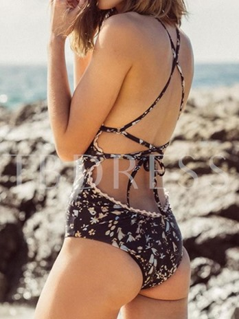 Floral Printing Gallus Backless Women's One-Piece Swimsuit