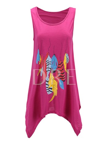 Loose Feather Print Color Block Women's Tank Top