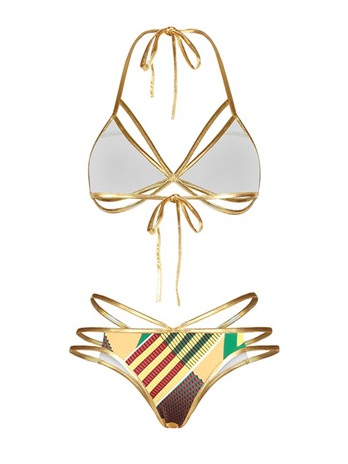 Dashiki Swimwear Gold Adjustable Strap Women's Bikini Set