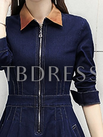 Zipper Denim Women's Day Dress