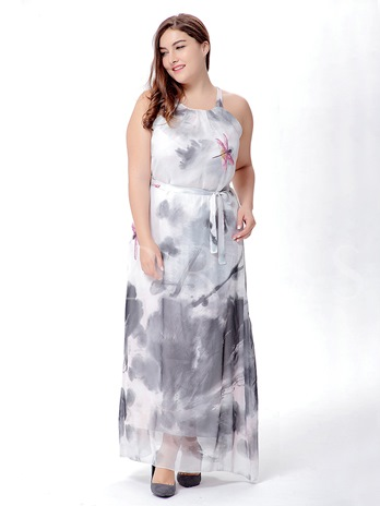 Plus Size High Waist Chiffon Prints Maxi Dress