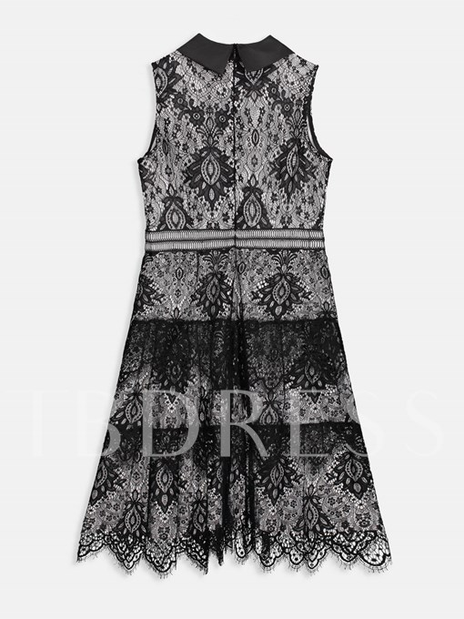 Lace Polo Neck Sleeveless A-Line Dress