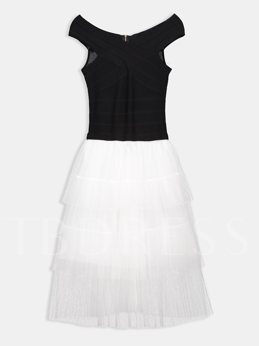 Slash Neck Color Block Mesh Layered Casual Dress