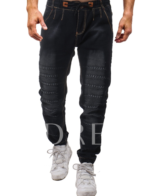 Lace-up Elastic Hole Men's Jeans