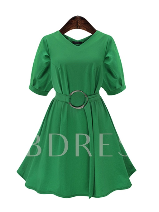 Summer Plain Belt Waist A-Line Day Dress