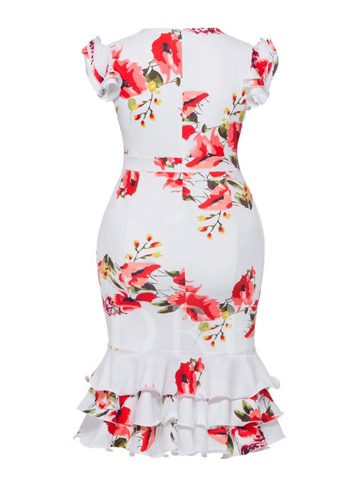 Plusee Ruffle Sleeve Flora Print Bodycon Dress
