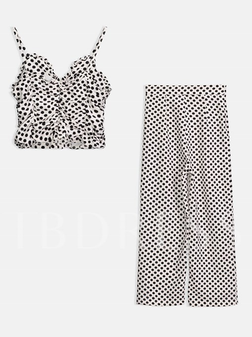 Polka Dots Cami Top with Pants Women's Two Piece Set