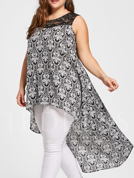 Plus Size Lace Patchwork Mid Length Women's Blouse