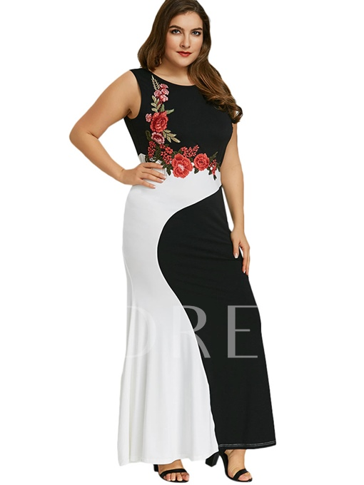 Plus Size Floral Embroidery Sleeveless Maxi Dress