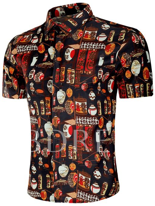 Vintage Chinese Style Men's Short Sleeve Shirt