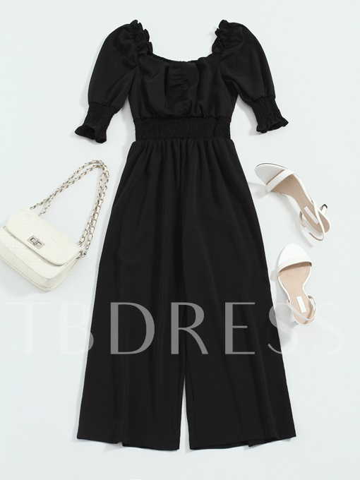 Square Neck Ruffled Stretchy Women's Jumpsuit