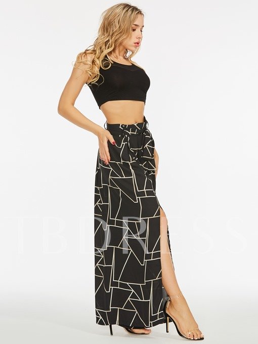 Split Side Geometric Pattern Women's Pants