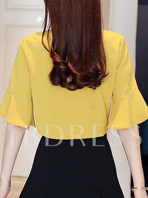 Slim Tie Neck Ruffle Sleeve Women's Blouse