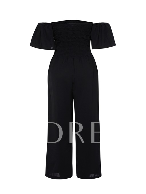Off Shoulder Frilled Cuff Plain Smock Women's Jumpsuit