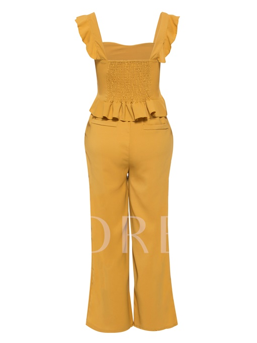 Ruffle Plain Bustier Top & Pants Women's Two Piece Set