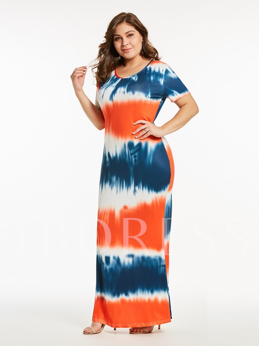 Plus Size Tie-Dye Prints Maxi Dress