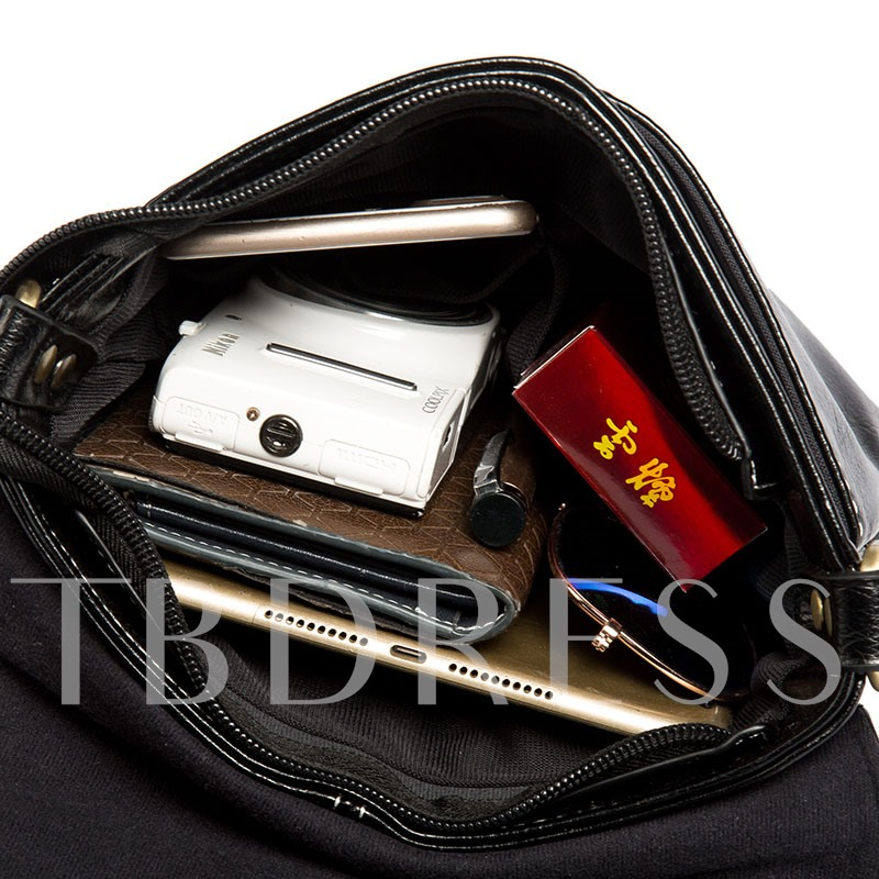 Plain PU Zipper Medium Men's Bags