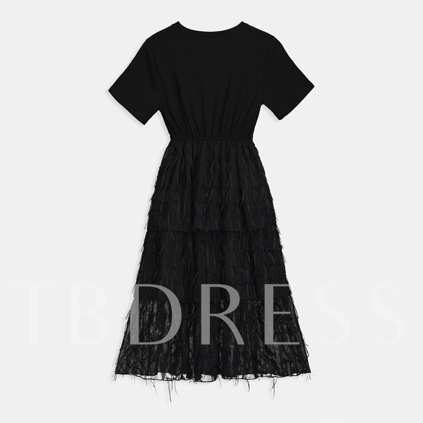 Round Neck Preppy Feather Layered Casual Dress