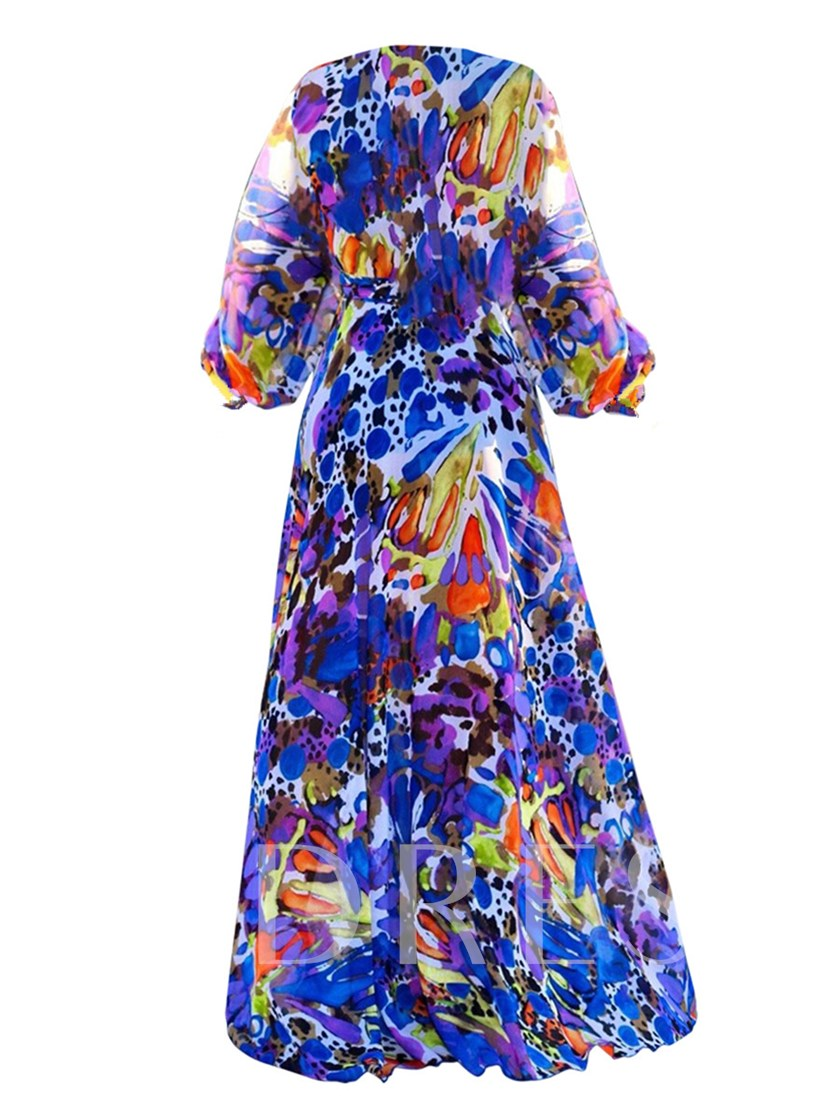 V-Neck Long Sleeve Print Women's Maxi Dress