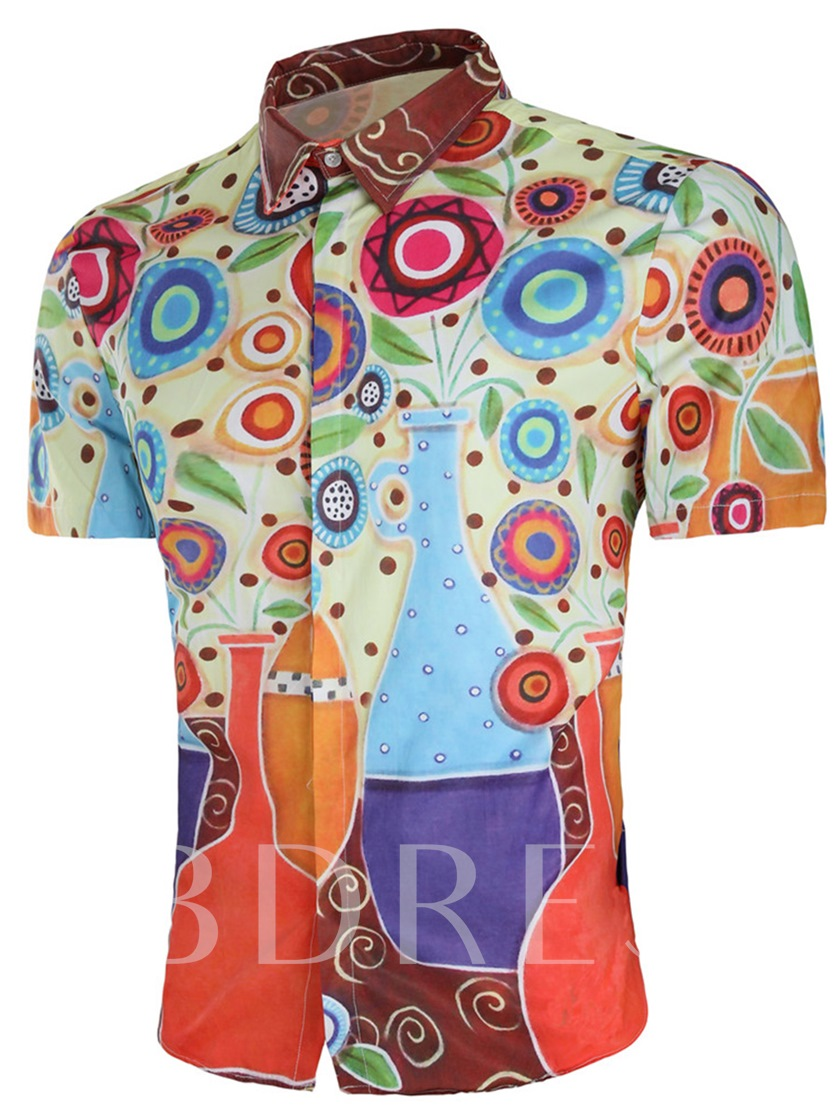 Color Circle Print Men's Short Sleeve Shirt