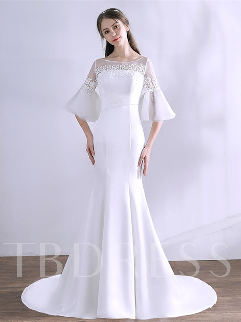 Appliques Trumpet Pleats Bateau Evening Dress